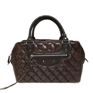 Auth Balenciaga Matelasse 168031 Leather Handbag Brown