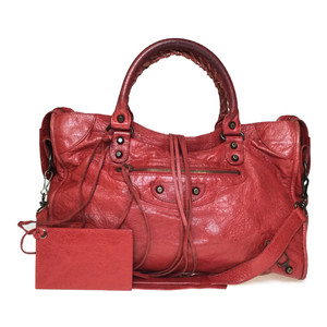 Auth Balenciaga The City 115748 2WAY Handbag Red