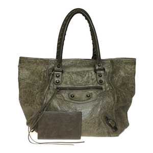 Auth Balenciaga Sunday 228750 Leather Tote Bag Grayish
