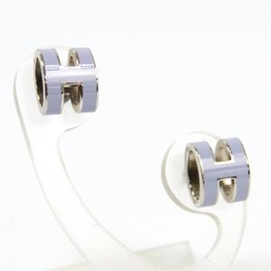 Hermes Pop H Lacquer,Metal Stud Earrings Light Purple,Silver