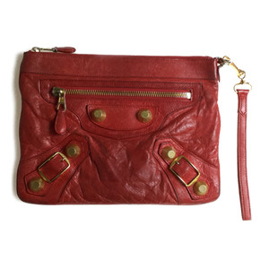 Auth Balenciaga 177286 Leather Giant Envelope Clutch Bag Red