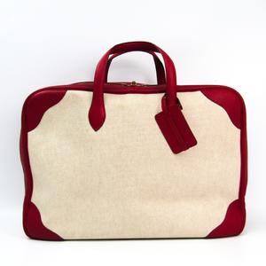 Hermes Victoria 50 Unisex Leather Boston Bag Beige,Red