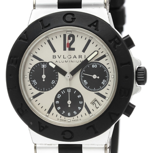 【BVLGARI】ブルガリ アルミニウム クロノグラフ ラバー 自動巻き メンズ 時計 AC38TA
