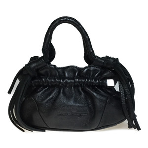 Auth Salvatore Ferragamo AF-21 3890 Mini Boston Bag,Handbag Black