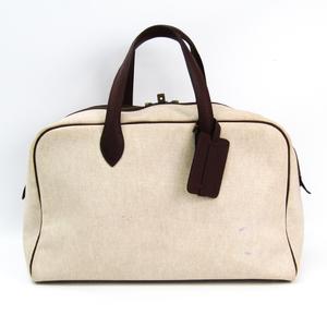 Hermes Victoria 43 Unisex Canvas,Leather Boston Bag Beige,Dark Brown