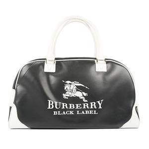 Auth Burberry BLACK LABEL Boston Bag Faux Leather Black