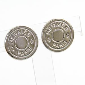 Hermes Sellier Metal Clip Earrings Silver