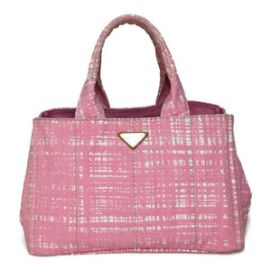Auth Prada Canapa B1877B Tweed Handbag Light Pink,Rosa