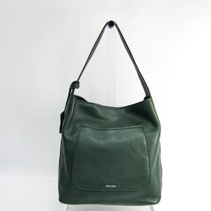 Prada 1BC007 Women's Leather Shoulder Bag Green