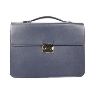 Auth Furla Brief Case Men's Leather Briefcase Navy