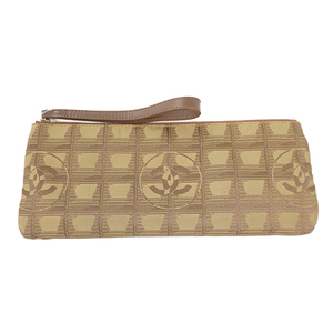 Auth Chanel Pouch New Travel Line Canvas Khaki