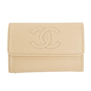 Auth Chanel Card Case Caviar Leather Business Card Case Beige