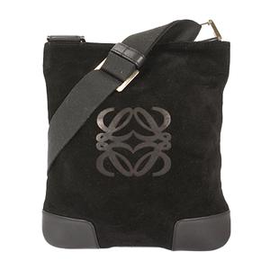 Auth Loewe Shoulder Bag Suede Black