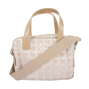 Auth Chanel New Travel Line 2way Bag Canvas Beige