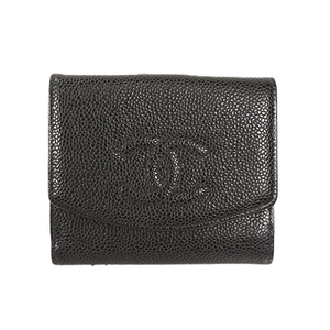 Auth Chanel Wallet Caviar Leather Black