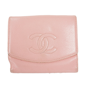 Auth Chanel Wallet Women's Caviar Leather Wallet (bi-fold) Pink