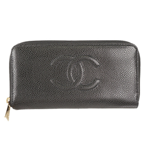 Auth Chanel Wallet Women's Caviar Leather Long Bill Wallet (bi-fold) Black