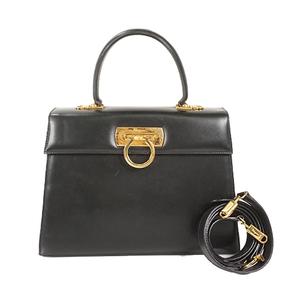 Auth Salvatore Ferragamo Gancini Handbag Black Gold