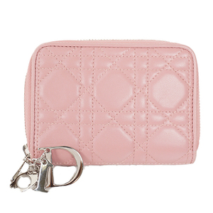 クリスチャンディオール 二つ折り財布 カナージュ レザー ピンク シルバー金具