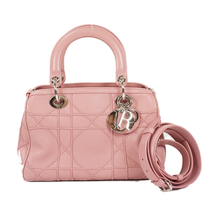 Auth Christian Dior 2WAY Bag Cannage Pink