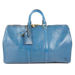 Auth Louis Vuitton Boston Bag Epi Keepall 45 M42975 Toledo Blue