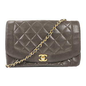 Auth Chanel Matelasse Chain Shoulder Bag Diana Flap Lambskin Black
