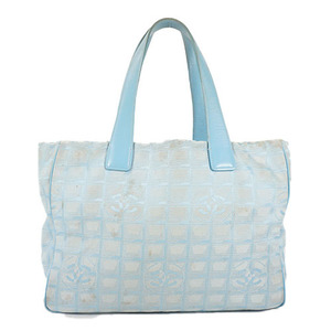 Auth Chanel New Travel Line Tote MM Canvas Blue