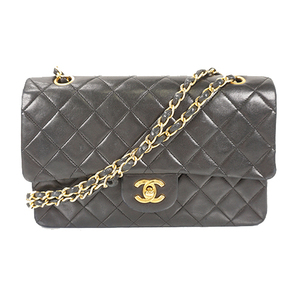 Auth Chanel Shoulder Bag Matelasse W Flap W Chain Lambskin Black Gold