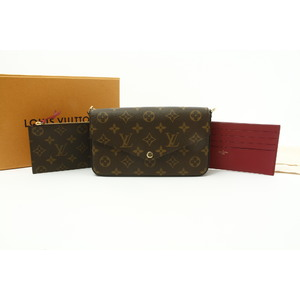 Louis Vuitton Monogram Pochette Felice M61276 Women's Monogram Chain/Shoulder Wallet Fuchsia