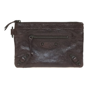 Auth Balenciaga 203437 Leather Pouch Brown