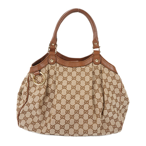 Auth Gucci Tote Bag Sukey GG Canvas Beige Gold