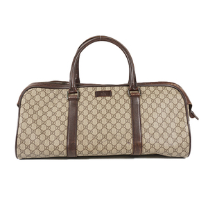 Auth Gucci Boston Bag GG Supreme 108793 Beige