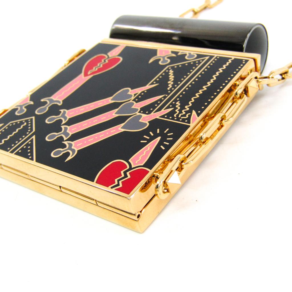 ヴァレンティノ(Valentino) メタル コンパクトミラー ブラック,ゴールド,ピンク リップスティックミラーケース