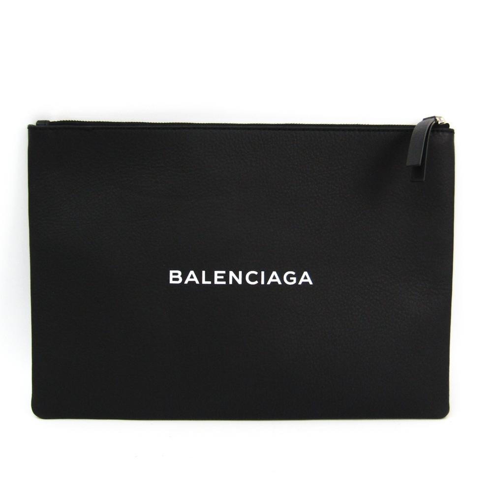 バレンシアガ(Balenciaga) ショッピングクリップM 485110 レディース レザー クラッチバッグ ブラック