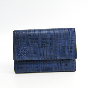 Loewe Linen Women's Leather Wallet (tri-fold) Navy