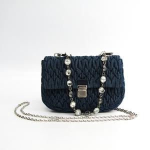 Miu Miu Matelasse RT0636 Women's Denim,Leather Handbag,Shoulder Bag Navy