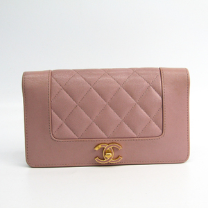 Chanel Mademoiselle A80971 Women's Leather Long Wallet (bi-fold) Beige Pink