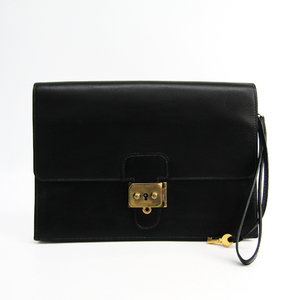 Hermes Jet Unisex Box Calf Leather Clutch Bag Black