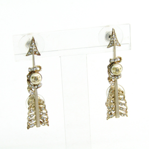 Chanel Coco Arrow Metal,Rhinestone Clip Earrings Champagne Gold