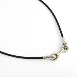 Hermes Metal Men's Choker Necklace (Black,Silver)