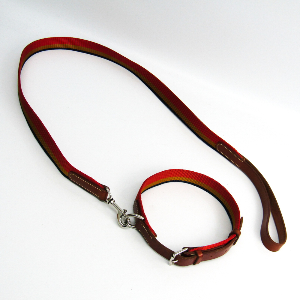 Hermes Dog Leash Leather Canvas Brown,Navy,Orange,Yellow