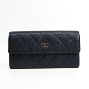 Chanel Matelasse A50096 Women's Caviar Leather Long Wallet (bi-fold) Navy