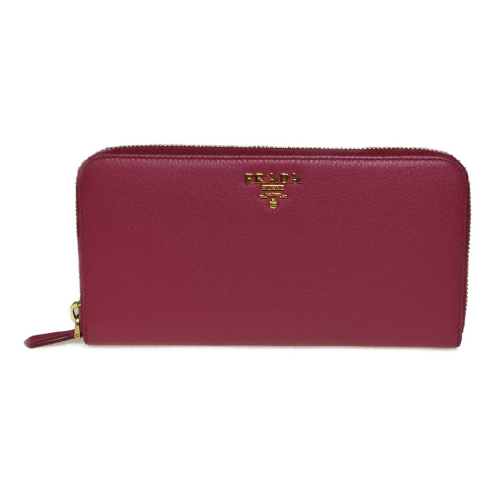 new product 0878e b09dc Auth Prada 1ML506 Vitello Grain Long Wallet (bi-fold) Peonia | eLady.com