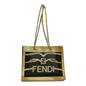 フェンディ(Fendi) メッシュ ショルダー トートバッグ ブラック キャメル