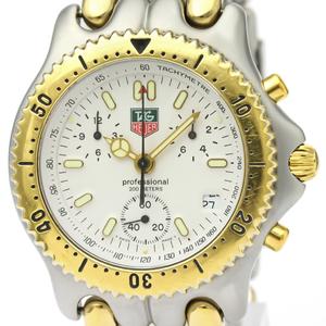 【TAG HEUER】タグホイヤー セル プロフェッショナル クロノグラフ ゴールドプレート ステンレススチール クォーツ メンズ 時計 S35.006