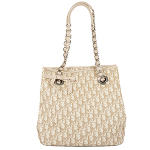 Auth Christian Dior Tote Bag Trotter PVC Ivory