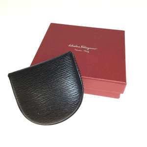Auth Salvatore Ferragamo 667042 Leather Coin Purse/coin Case Black