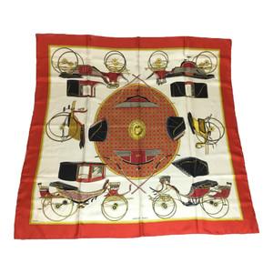 エルメス (Hermes) シルク スカーフ レッド 折畳み式幌の馬車 LES VOITURES A TRANSFORMATION