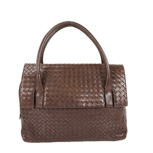 Auth Bottega Veneta Intrecciato Handbag Leather Handbag Brown