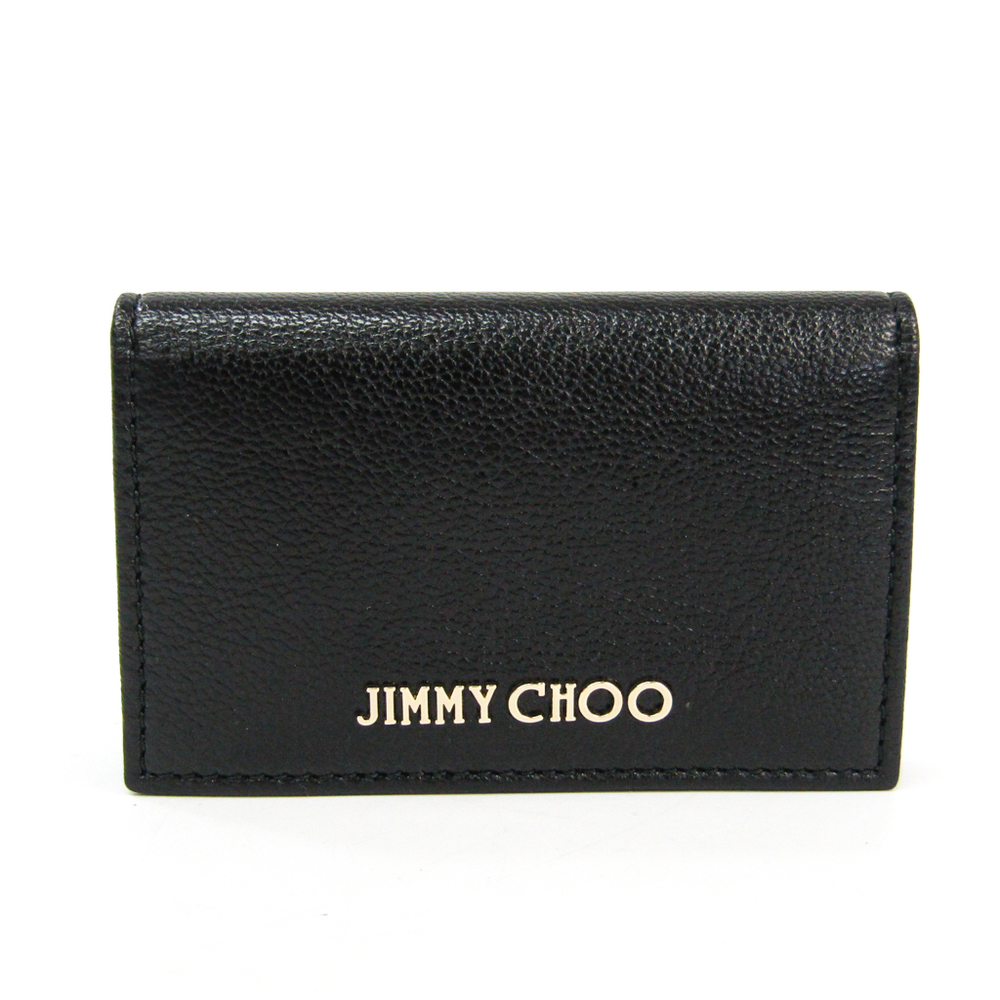 Jimmy Choo NELLO J000065918001 Leather Business Card Case Black